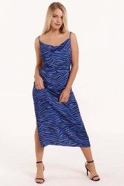 Лятна рокля с презрамки с тънки презрамки в кафяво или синьо Lisca Fashion Lima 2021 Лиска Fashion SW от www.liscashop.bg