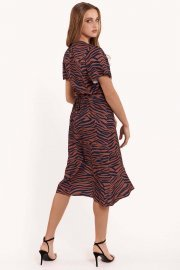 Плажна рокля с къси ръкави в кафяво или синьо Lisca Fashion Lima 2021 Лиска Fashion SW от www.liscashop.bg