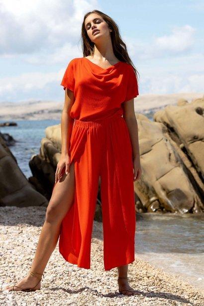 Летен панталон 7/8 в червено или синьо Lisca Fashion Nice 2021