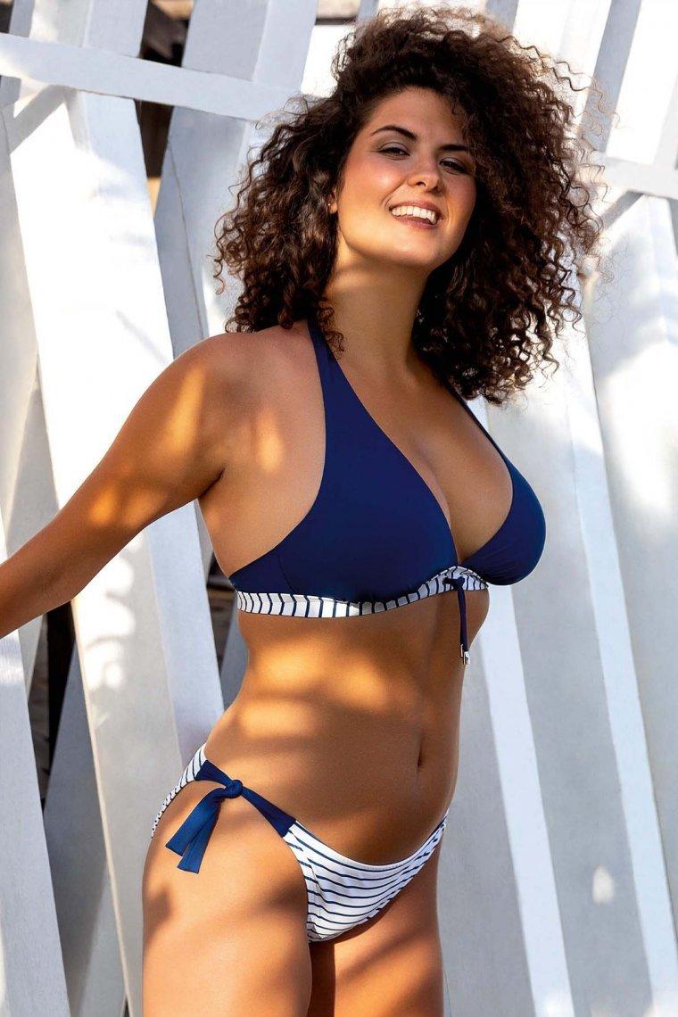 Класически бански бикини с връзки отстрани в синьо и бяло Lisca Fashion Puerto Rico 2021 Лиска Fashion SW от www.liscashop.bg