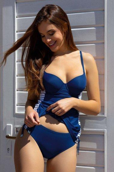 Женски бански танкини с оформени чашки и банели в синьо Lisca Fashion Puerto Rico 2021