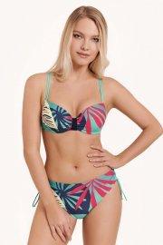 Бански топ с оформени чашки и банели в синьо или зелено на цветя Lisca Fashion Tahiti 2021 Лиска Fashion SW от www.liscashop.bg