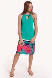 Лятна рокля с тропически принт и овално деколте с панделка Lisca Fashion Tahiti 2021 Лиска Fashion SW от www.liscashop.bg