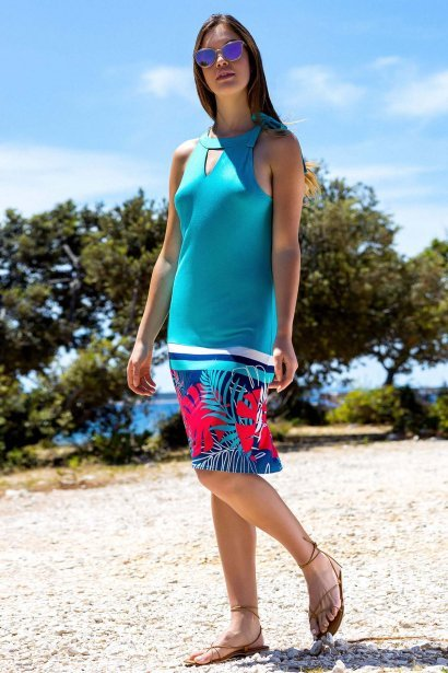Лятна рокля с тропически принт и овално деколте с панделка Lisca Fashion Tahiti 2021