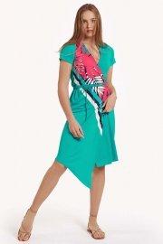 Модерна лятна рокля с къси ръкави и връзки около талията Lisca Fashion Tahiti 2021 Лиска Fashion SW от www.liscashop.bg