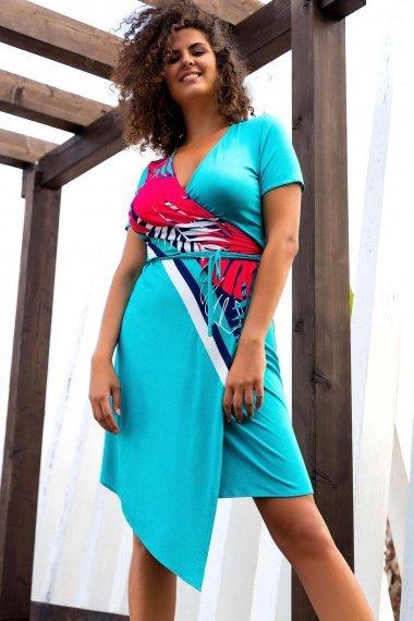 Модерна лятна рокля с къси ръкави и връзки около талията Lisca Fashion Tahiti 2021