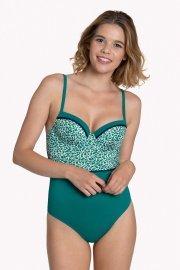 Цял бански костюм с оформени чашки с банели в зелено или черно Lisca Fashion Utila 2021 Лиска Fashion SW от www.liscashop.bg
