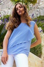 Лятна дамска блуза с без ръкави в бяло или синьо Lisca Selection Ensenada 2021 Лиска Selection SW от www.liscashop.bg