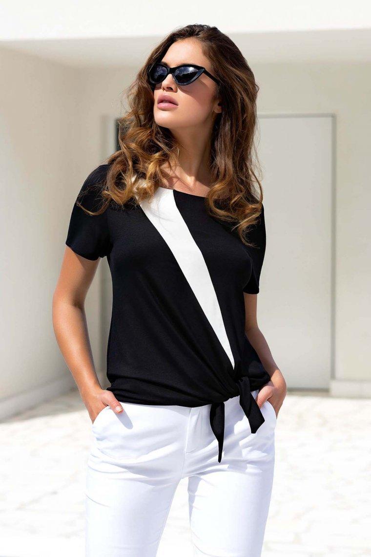 Елегантна плажна туника с къси ръкави в черно и бяло Lisca Guaraja 2021 Лиска Selection SW от www.liscashop.bg