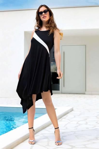 Плажна рокля без ръкави в черно и бяло Lisca Guaraja 2021
