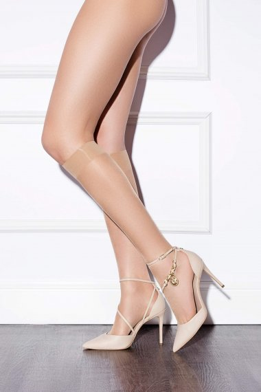 Тънки прозрачни чорапи до коляното Lisca Fashion 15 den, полуматови с подсилени пети